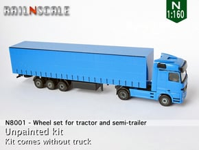 Wheel set for tractor and semi-trailer (N 1:160) in Smooth Fine Detail Plastic