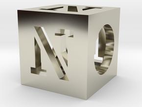 N Cube Slide in 14k White Gold