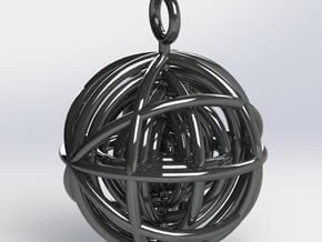 Geometrical Sphere Pendant in Polished Silver