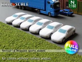 6 Wrapped sports sedans (N 1:160) in Full Color Sandstone