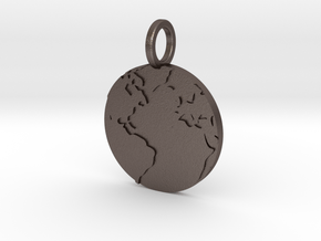 the world hanging from your neck in Polished Bronzed Silver Steel