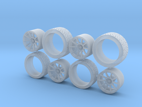 Set wheels BRAID Fullrace + Tire 1/43 in Smooth Fine Detail Plastic