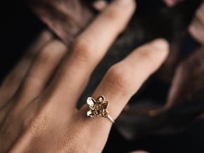 Wild Rose Ring in Polished Brass: 5 / 49