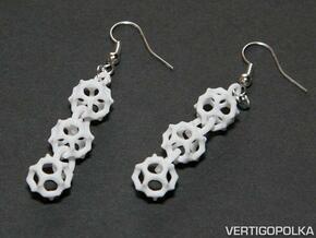 Gyroid Earrings in White Natural Versatile Plastic