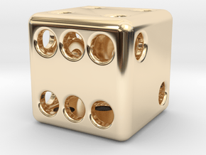 Balanced Hollow Dice (D6) (1.5cm) (Method 1) in 14k Gold Plated Brass