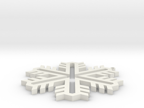 Snowflake 1 in White Natural Versatile Plastic