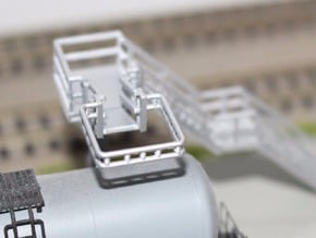 N Scale Tank Car loading Bridge 2x medium in Smooth Fine Detail Plastic