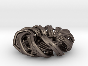 Tracheon pendant / pocket sculpture (4.2cm) in Polished Bronzed Silver Steel