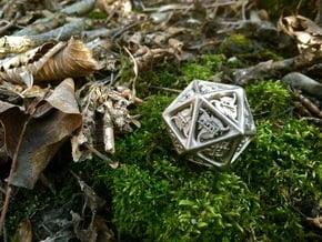 Tengwar Elvish D20 in Polished Nickel Steel: Small