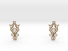 Art Nouveau Earrings in Polished Brass