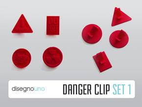 Party Accessories | Danger (4 pz) in Red Processed Versatile Plastic