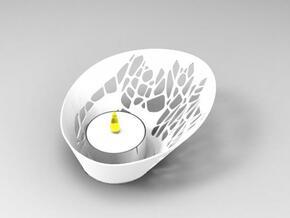 V tealight candle holder in White Natural Versatile Plastic