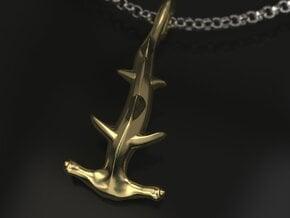 Hammerhead charm in Polished Brass