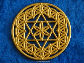 Flower Of Life - Merkaba in Polished Gold Steel