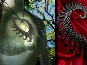 Fractal heart ornament / very large pendant in White Natural Versatile Plastic