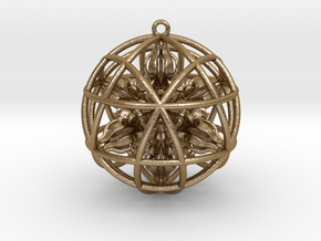 """Star Tetrasphere with Nested Octuple Dorje 2""""  in Polished Gold Steel"""