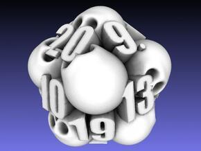 Ossuary d20 in White Natural Versatile Plastic