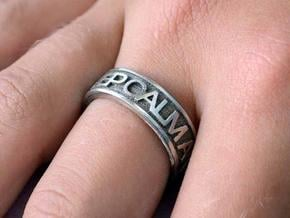 """Size 7 Steel Ring """"KEEP CALM & CARRY ON"""" in Polished Bronzed Silver Steel"""