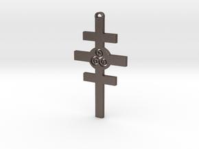 Celtic Cross of Damcar in Polished Bronzed Silver Steel