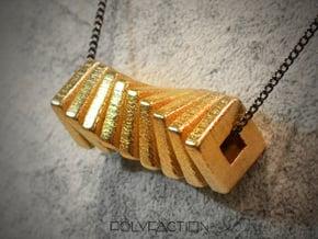 polyNINE ::: Square Pendant ::: v.01 in Polished Gold Steel