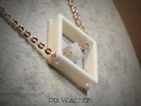 Loop ::: Square Pendant ::: v.01 in White Processed Versatile Plastic