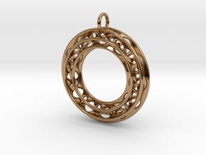 Pendant: Moebius Triple Ø 30mm / Medium Thickness in Polished Brass