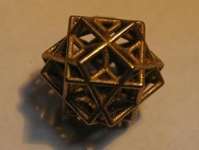 tri cube escher necklace in Polished Bronzed Silver Steel