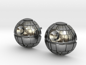 Death Star Studs in Polished Silver