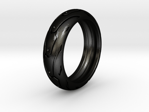 Sportbike tire ring. Size 18.5 mm (US 8 1/2) in Matte Black Steel