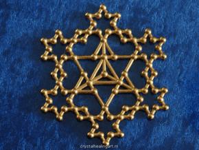 Merkaba Koch Fractal in Polished Gold Steel