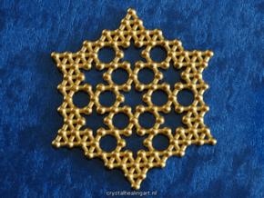 Merkaba Koch Fractal Snowflake in Polished Gold Steel