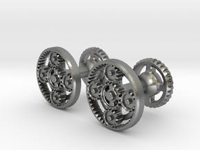Gearcog cufflinks in Natural Silver