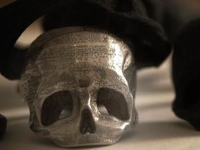 Skull Ring US 9 in Polished Bronzed Silver Steel