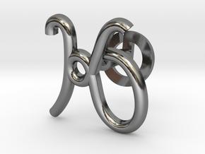 Cursive K Cufflink in Fine Detail Polished Silver