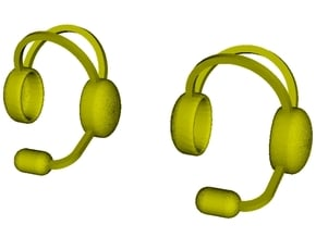 1/18 scale radio headphones & microphones x 2 in Smooth Fine Detail Plastic