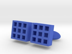 Square Cell Cufflinks in Blue Processed Versatile Plastic