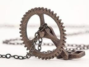 Cycling Necklace in Polished Bronzed Silver Steel
