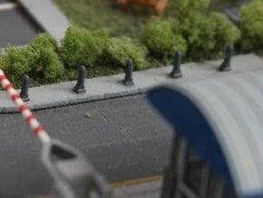 N Scale 8x Road Bollard Nostalgic in Smooth Fine Detail Plastic