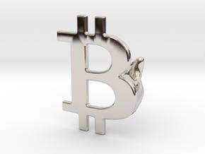 Bitcoin Cufflink in Platinum