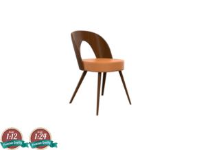 Miniature 1960 Wooden Tatra Chair in White Natural Versatile Plastic: 1:24