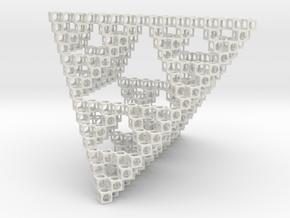 Minimal Art Object Sierpinsky in White Natural Versatile Plastic