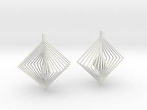 Earrings 20 squares in White Natural Versatile Plastic