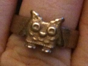 Owl Ring size 7 in Polished Bronzed Silver Steel