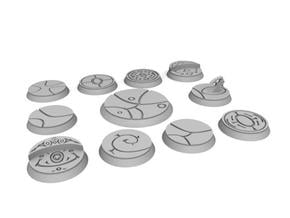 10 25mm and one 40mm alien bases in White Natural Versatile Plastic