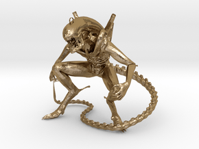 Alien earring in Polished Gold Steel