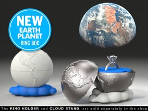 """""""Earth Planet"""" Proposal Engagement Ring Box in Blue Processed Versatile Plastic"""