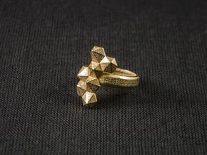 Hex Cluster Ring in Polished Gold Steel