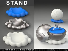 """CLOUD STAND to the """"Earth Planet Ring Box"""" in White Processed Versatile Plastic"""