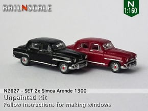 SET 2x Simca Aronde 1300 (N 1:160) in Smooth Fine Detail Plastic