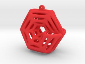 Voronoi Klein Earring (005) in Red Processed Versatile Plastic